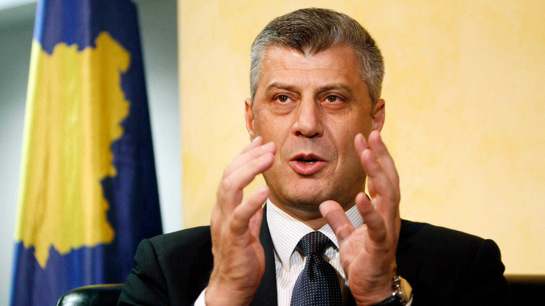 FILE: Prime Minister Hashim Thaci earlier said he wants an independent investigation to 'dispel the mist' surrounding allegations he led a gang that murdered detainees to sell their kidneys.