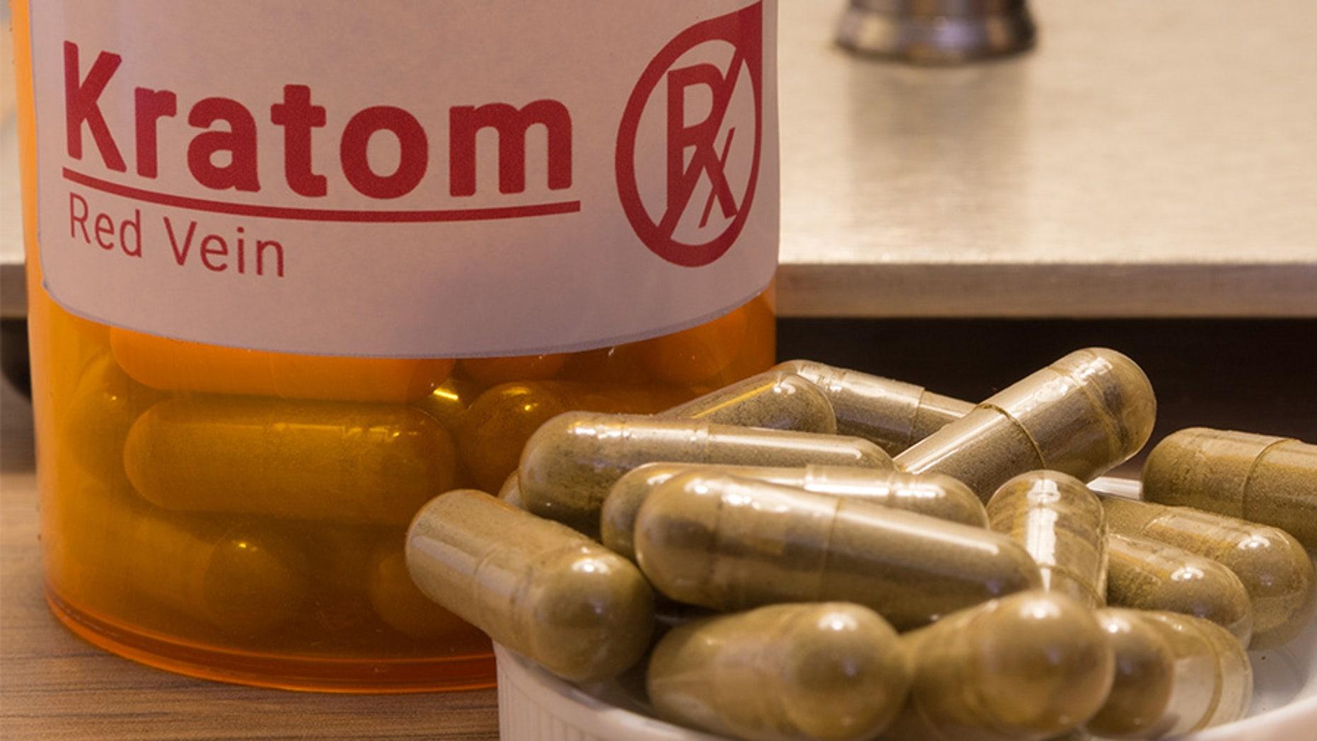 Image of actual kratom pills with a faux prescription logo.