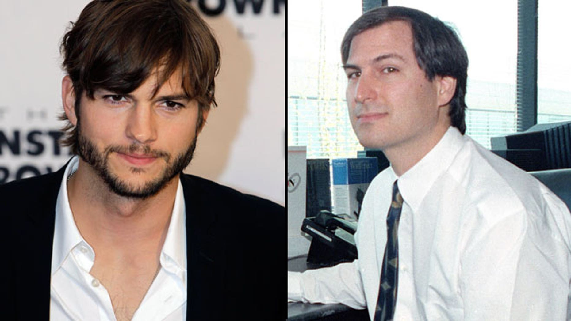 Ashton Kutcher (left) will play late Apple founder Steve Jobs, pictured at right in 1991.