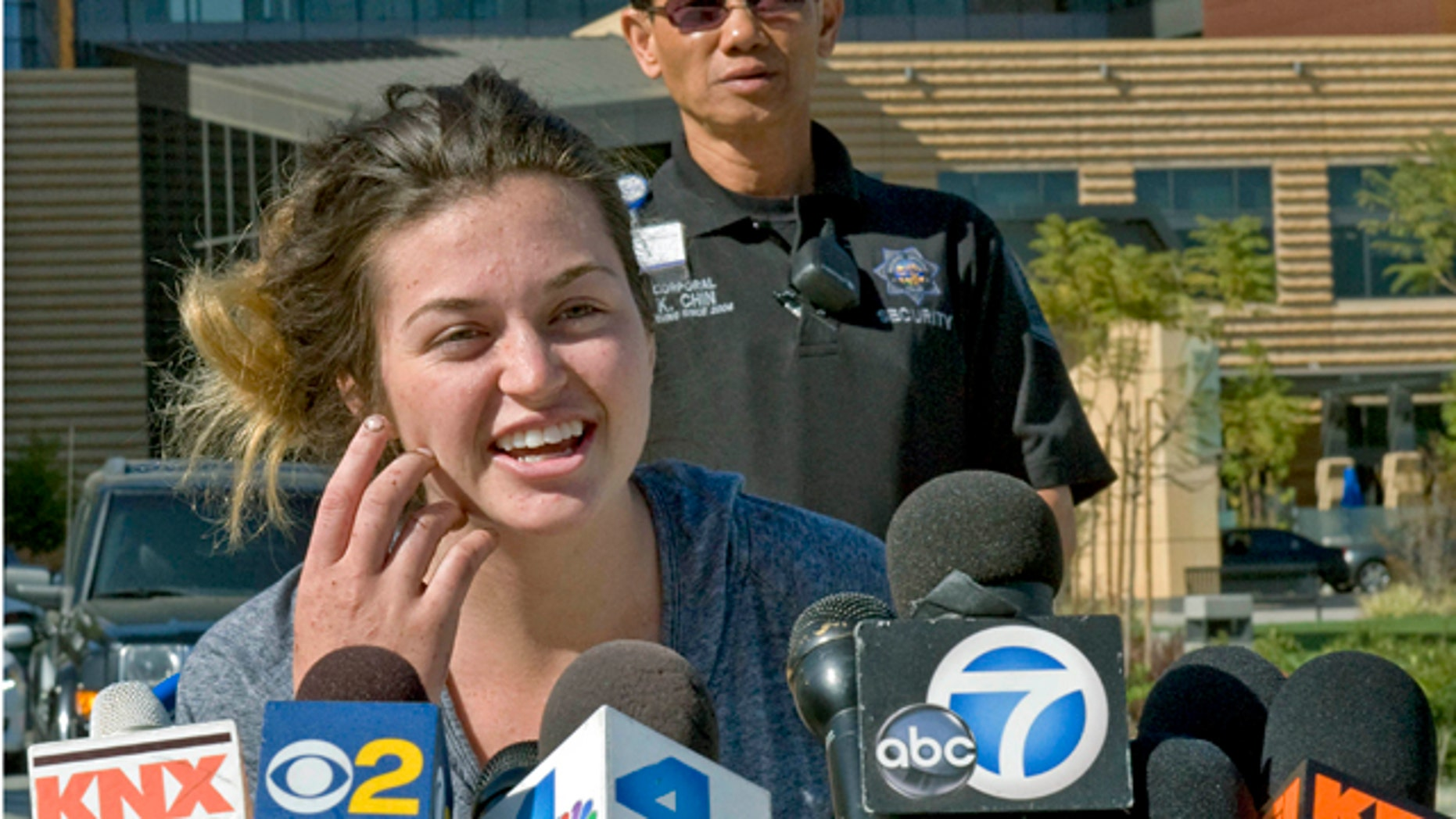 April 8, 2013: Kyndall Jack, one of the two hikers who became lost for nearly a week in the Cleveland National Forest last week, talks about her ordeal and thanks rescuers during a news conference.