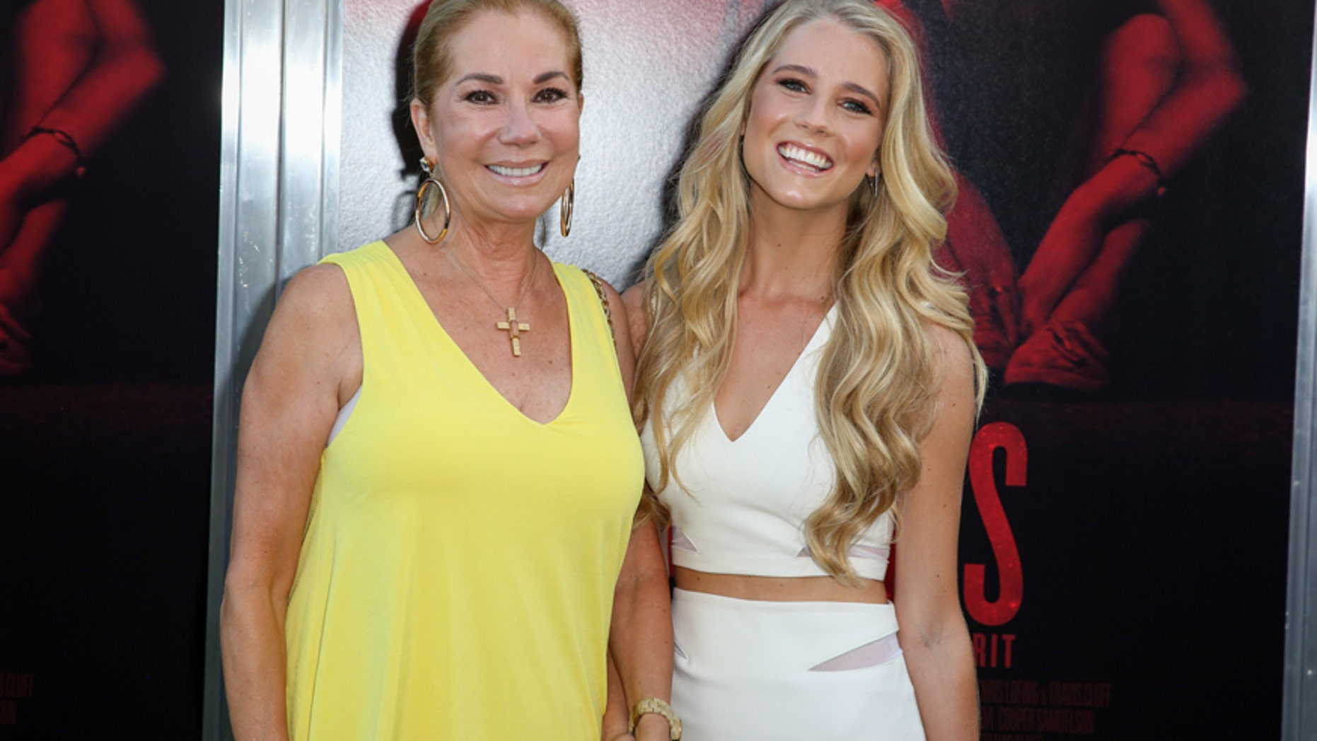 """Kathie Lee Gifford, left, and Cassidy Gifford arrive at the LA Premiere of """"The Gallows"""" at Hollywood High School on Tuesday, July 7, 2015, in Los Angeles."""