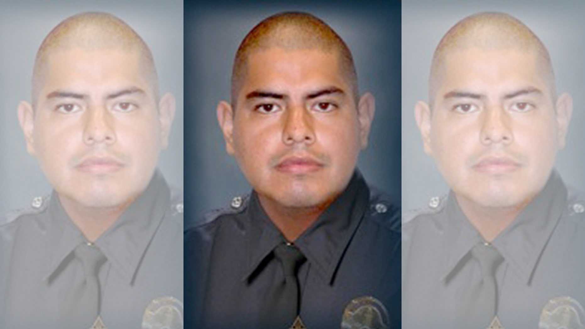 This image provided by the Los Angeles Police Department shows Officer Roberto C. Sanchez, who died Saturday May 3, 2014, at a Los Angeles hospital after the patrol car he was driving was broadsided by an SUV in the Harbor City area. The squad car was so mangled that Sanchez's partner had to call for help on his personal cellphone because the police radio wasn't working. (AP Photo/LAPD)