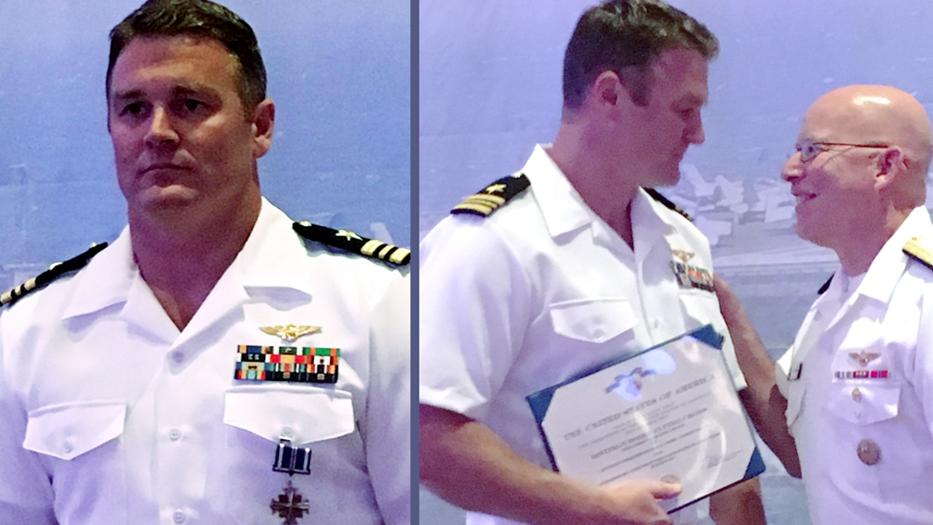 "U.S. Navy pilot Lt. Cmdr.  Mike ""MOB"" Tremel, left, received the Distinguished Flying Cross for shooting down a Syrian jet in 2017 —  the first air-to-air kill for the U.S. military in 18 years. The award was presented by the head of naval aviation, Vice Admiral DeWolfe Miller III, right, over the weekend.  (U.S. Naval Air Force)"