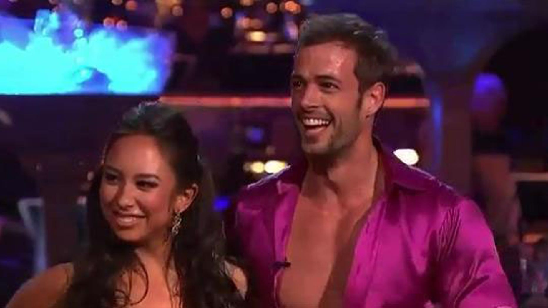 """May 21, 2012: William Levy and dance partner Cheryl Burke receive a perfect score of 30 (out of 30) points after performing their cha-cha routine to Pink's upbeat song """"Raise Your Glass,"""" Monday night."""