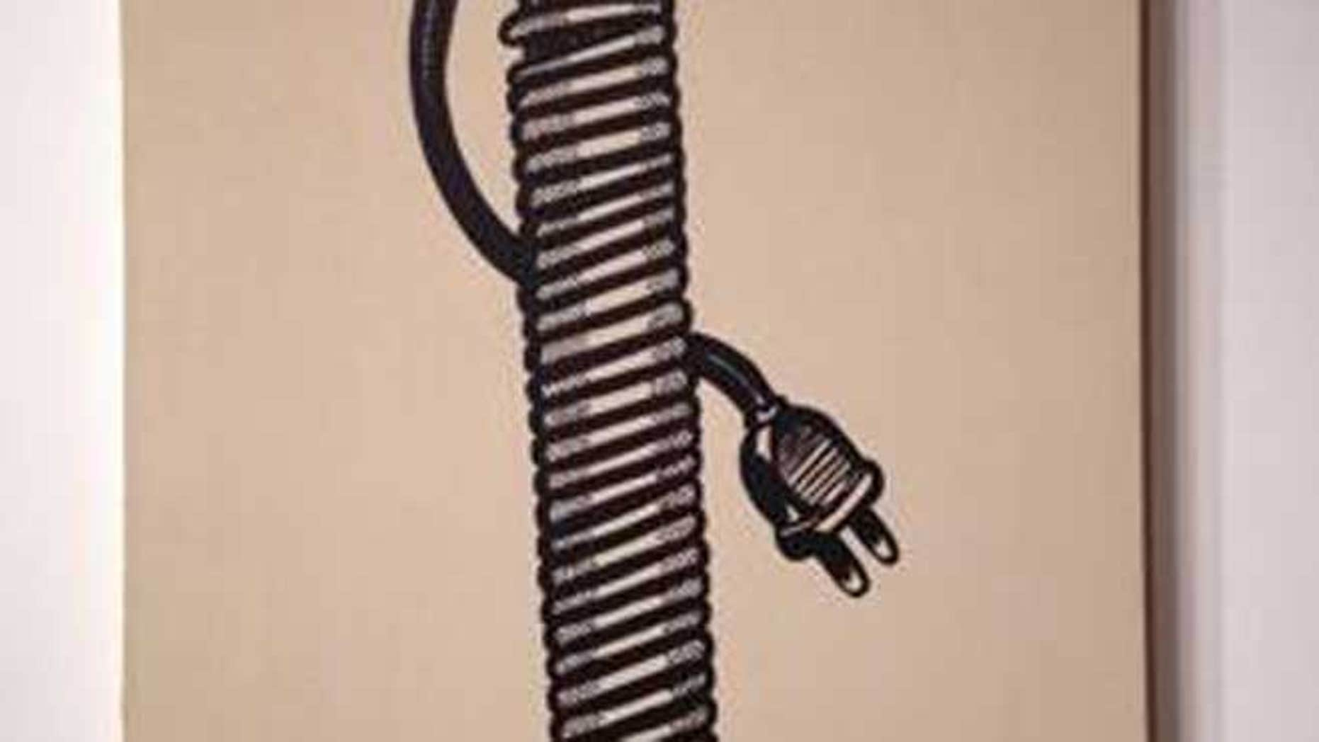"This undated photo shows ""Electric Cord,"" an oil canvas by Lichtenstein."