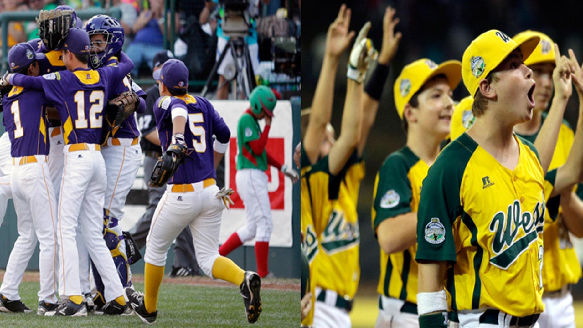 Panama celebrates a win (left) and California celebrates a win (right) on Thursday night.  (AP)