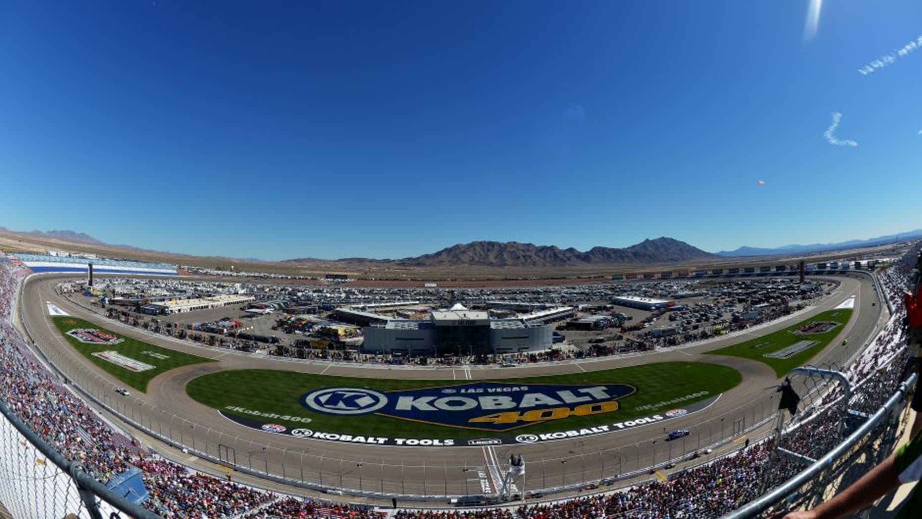 LAS VEGAS, NV - MARCH 08: A general view of cars racing during the NASCAR Nationwide Series Boyd Gaming 300 at Las Vegas Motor Speedway on March 8, 2014 in Las Vegas, Nevada. (Photo by Drew Hallowell/NASCAR via Getty Images)
