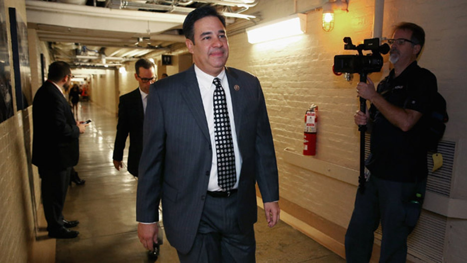 WASHINGTON, DC - OCTOBER 28:  Rep. Raul Labrador (R-ID) heads for a House GOP candidates forum at the U.S. Capitol October 28, 2015 in Washington, DC. Labrador is a member of the far-right Freedom Caucus, which endorsed Rep. Daniel Webster (R-FL) over House Ways and Means Committee Chairman Paul Ryan (R-WI) for the speakership after Speaker of the House John Boehner (R-OH) announced his retirement.  (Photo by Chip Somodevilla/Getty Images)