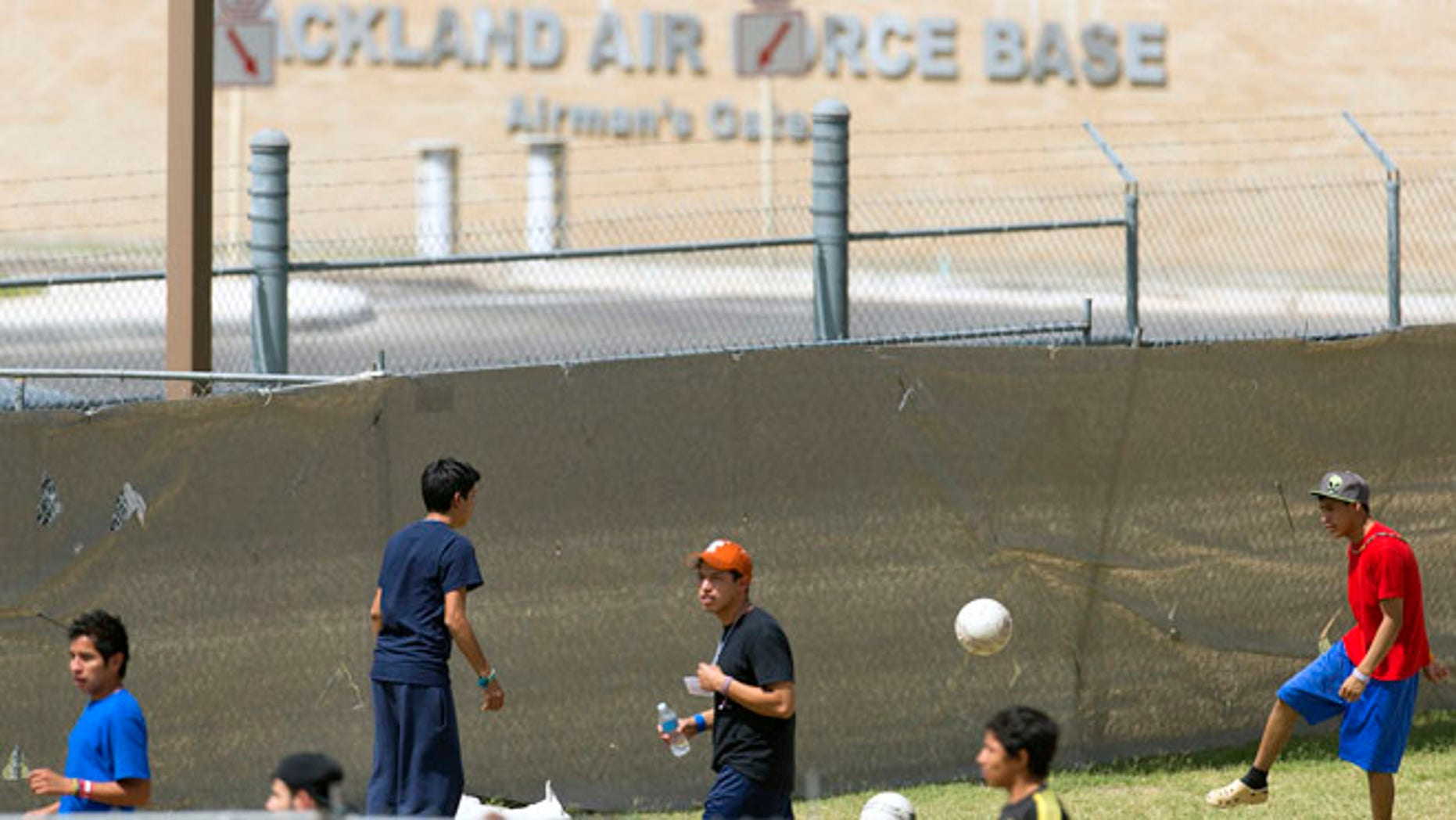 July 2, 2014: Young illegal immigrants in housing area on Lackland Air Force Base in San Antonio, Texas.