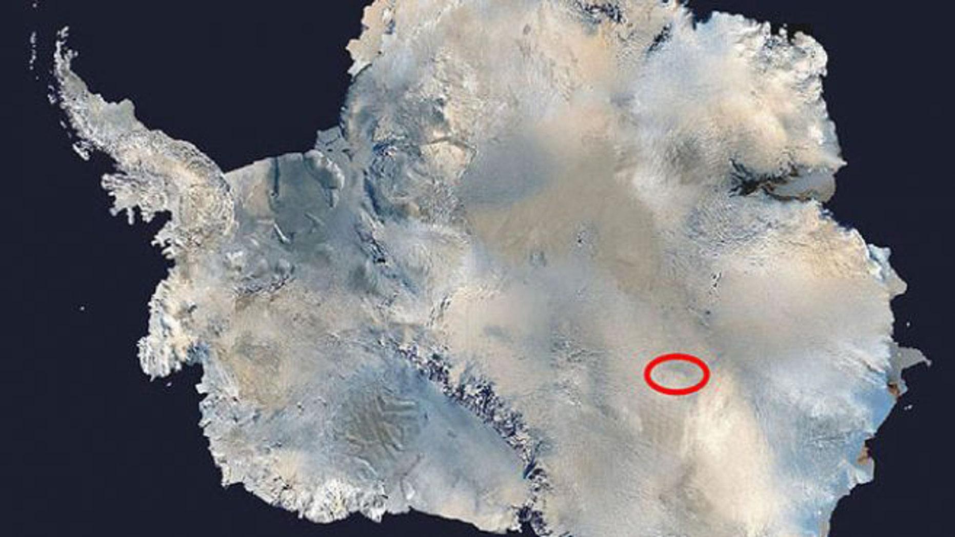NASA photo of Lake Vostok in Antarctica.