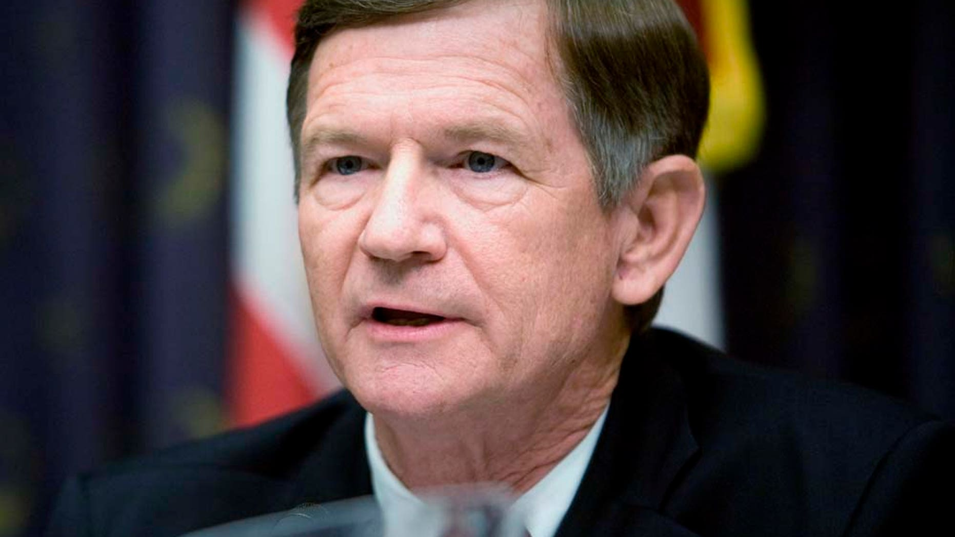 JUNE 20: Representative Lamar Smith (R-TX), here in 2008, introduced a bill that would require U.S. businesses to verify new workers through a government database. (Photo by Brendan Smialowski/Getty Images)