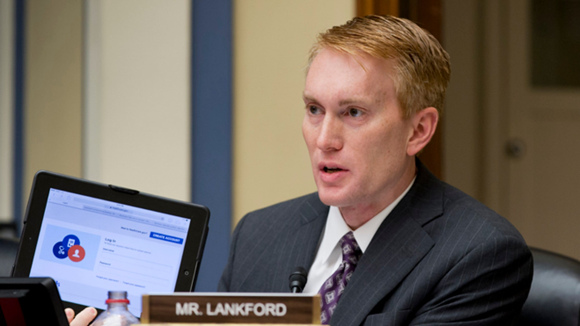 FILE: Nov. 13, 2013: Rep. James Lankford, R-Okla., on Capitol Hill, in Washington, D.C.