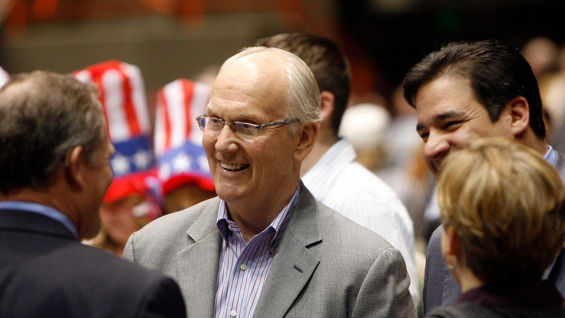 March 6, 2012: Former Idaho Sen. Larry Craig attends the Ada County Republicans caucus.