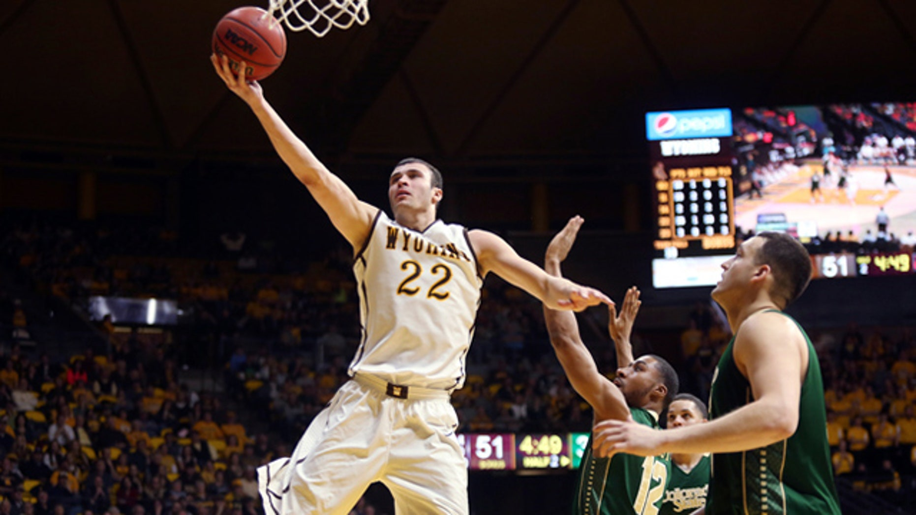 Feb 4, 2015: Wyoming's Larry Nance goes up for a shot in a game against Colorado State. (Alan Rogers, Casper Star-Tribune via AP)