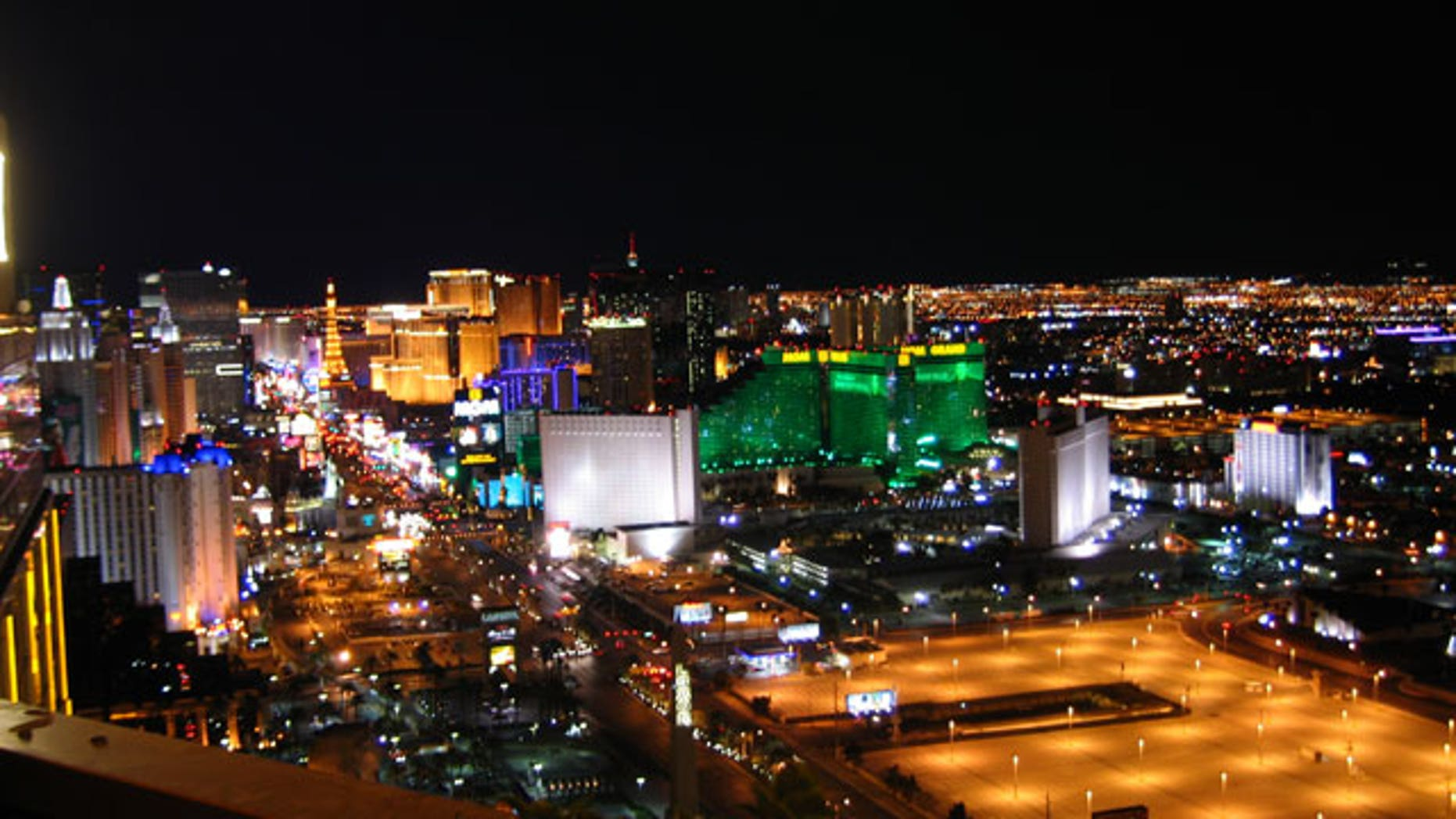 January, 8, 2012: The view from the 43rd floor balcony at the House of Blues Foundation Room in Las Vegas, where nearly two dozen companies showed off their stuff prior to the official beginning of the 2012 Consumer Electronics Show.