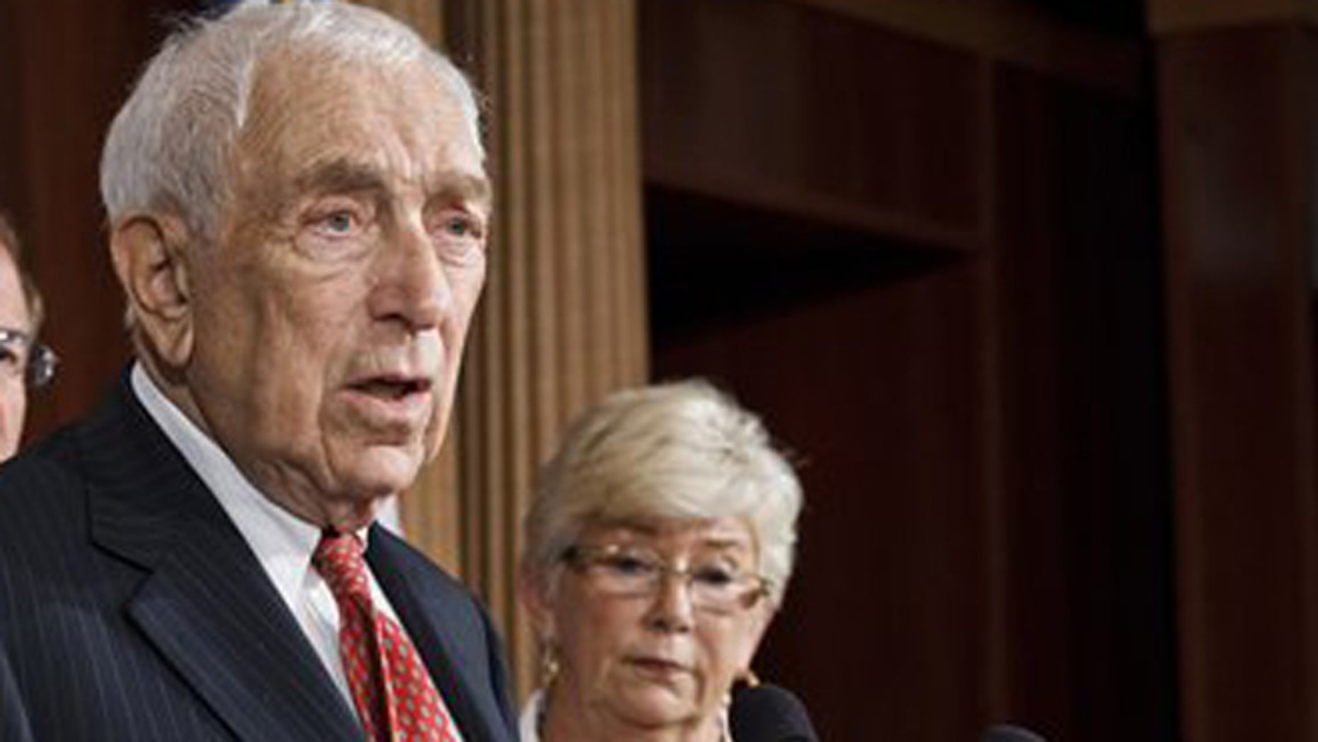 July 24, 2012: Sen. Frank Lautenberg, D-N.J., and Rep. Carolyn McCarthy, D-N.Y., at  a news conference on Capitol Hill in Washington.