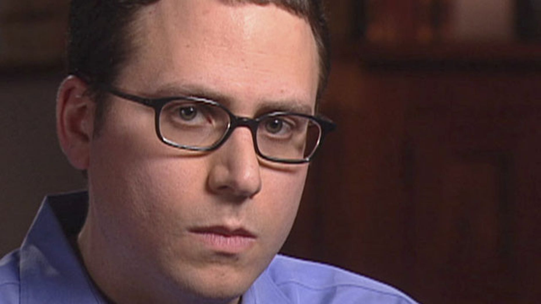 """FILE - This May 7, 2003 file video frame grab released by CBS' """"60 Minutes"""" shows Stephen Glass, former writer for The New Republic in New York. (AP Photo)"""