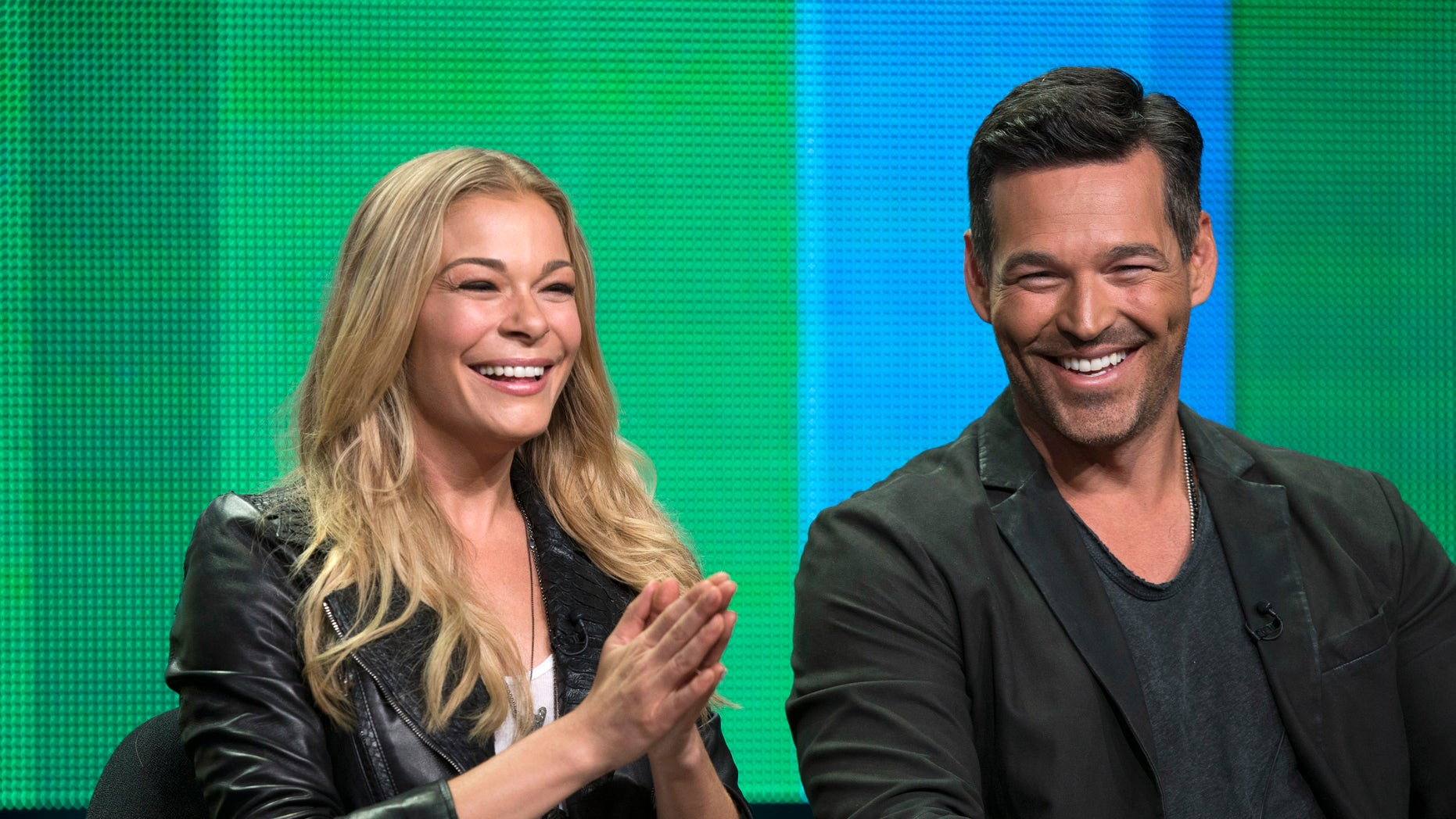 """July 11, 2014. LeAnn Rimes and her husband Eddie Cibrian attend a panel for the VH1 television series """"LeAnn & Eddie"""" during the Television Critics Association Cable Summer Press Tour in Beverly Hills, California."""