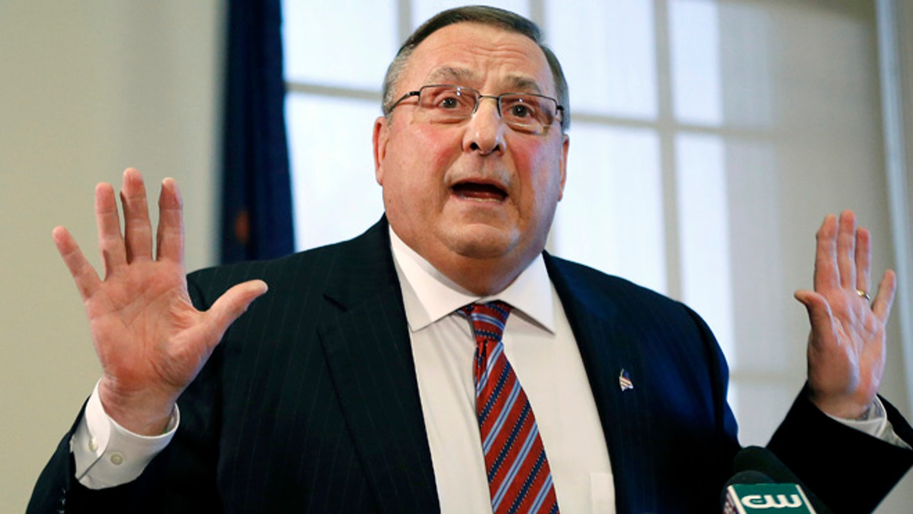 """FILE - In this Jan. 8, 2016, file photo, Gov. Paul LePage speaks at a news conference at the State House in Augusta, Maine. Lepage said Wednesday, Aug. 31, 2016, he intends to seek """"spiritual guidance"""" in hopes of quieting a controversy he created when he left an obscene message on a Democratic lawmaker's voicemail and then said he wished he could challenge him to a duel and point a gun at him. LePage said he doesn't intend to talk to the media anymore, a claim he has made before. (AP Photo/Robert F. Bukaty, File)"""
