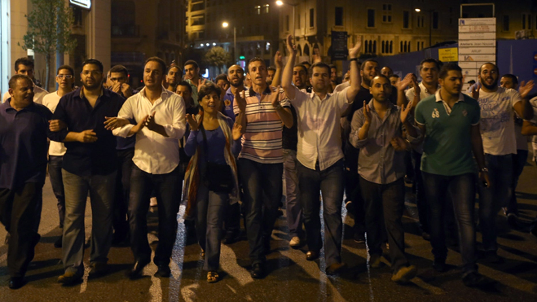 Oct. 19, 2012: Anti Lebanese government protesters, shout slogans against Lebanese Prime Minister Najib Mikati and against the Syrian regime, during a demonstration after the killing of Brig. Gen. Wissam al-Hassan, in downtown of Beirut, Lebanon.