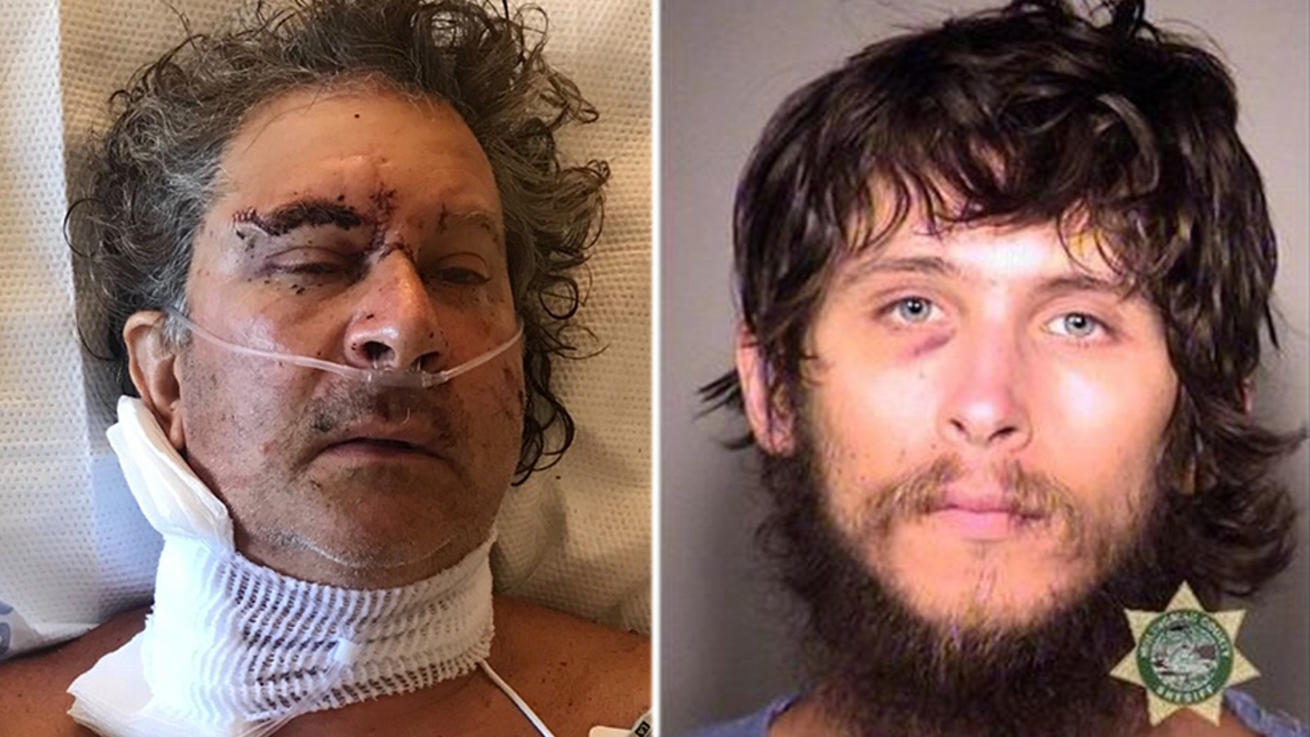 Kasey Lebechuck, left, was reportedly stabbed 17 times after telling Todd Schneider, right, he couldn't camp out in his Portland, Oregon, neighborhood.