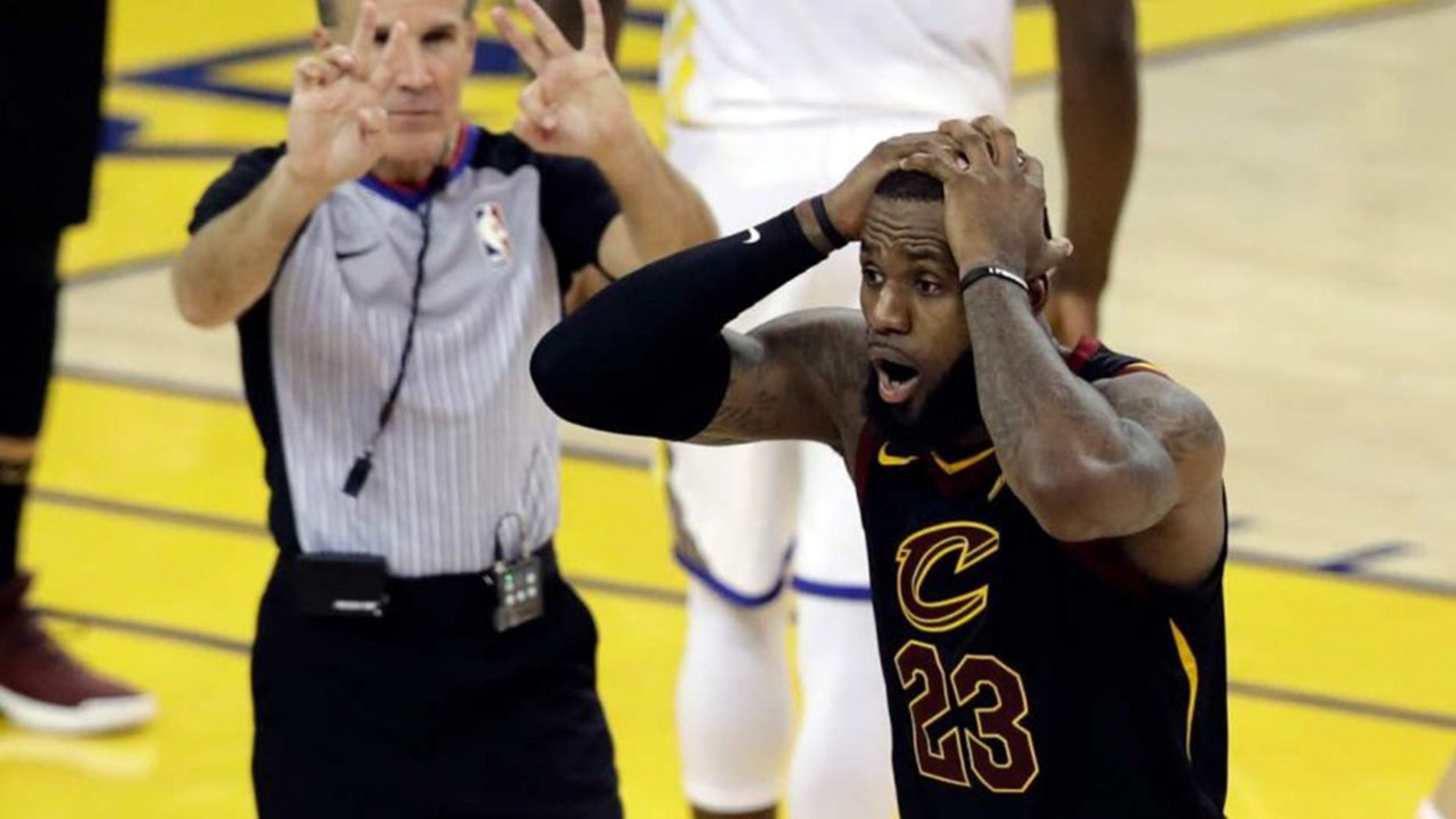Cleveland's LeBron James was in utter disbelief at the end of regulation play in Game 1, as the Cavaliers missed an opportunity to win the game, in Oakland, Calif., May 31, 2018.