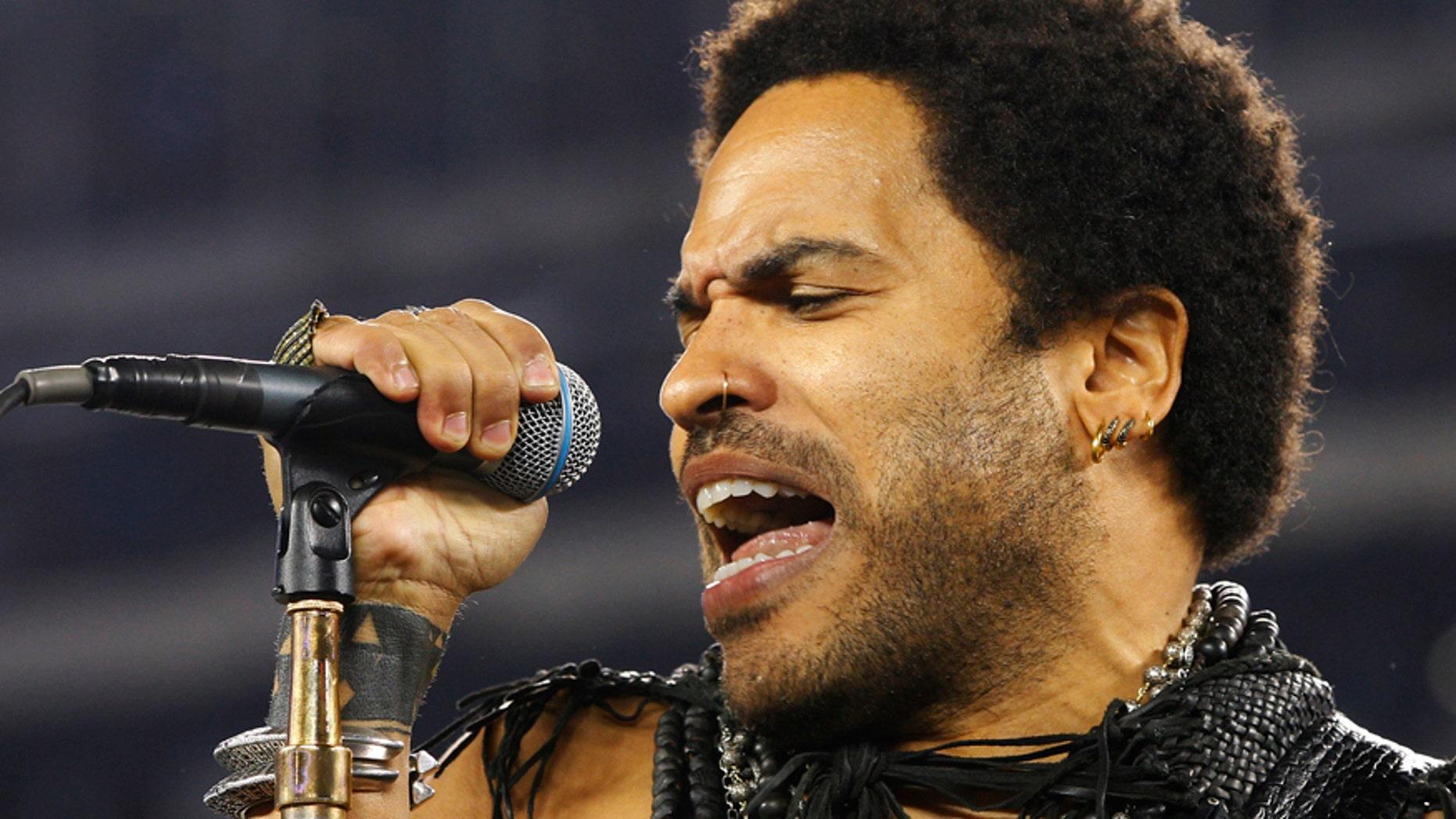 Singer Lenny Kravitz performs.