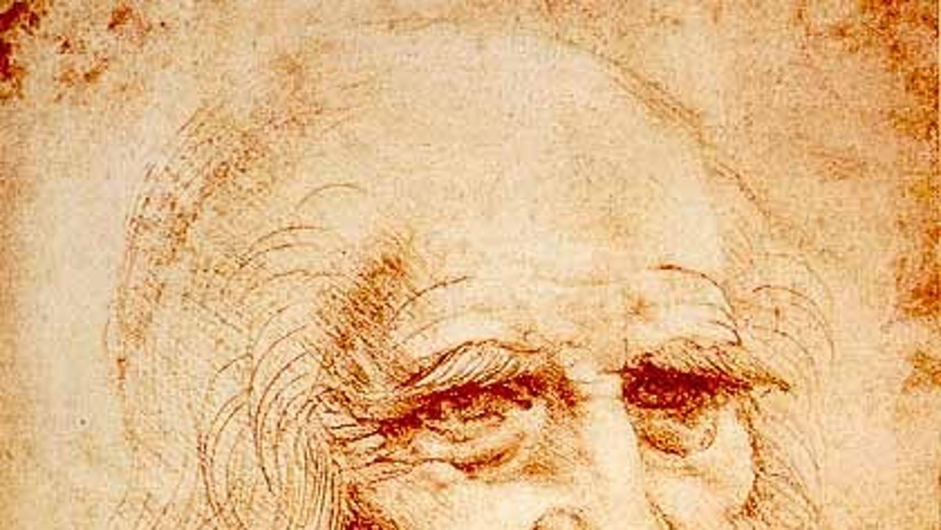 A self-portrait of Leonardo da Vinci done in red chalk.