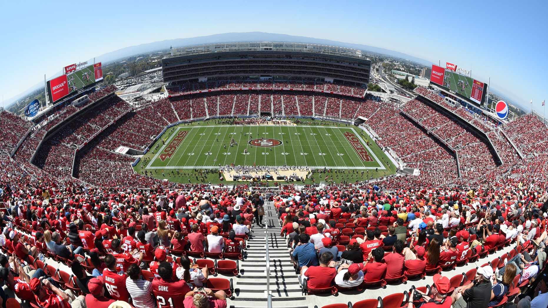 August 17, 2014; Santa Clara, CA, USA; General view of Levi's Stadium during the first quarter between the San Francisco 49ers and the Denver Broncos.