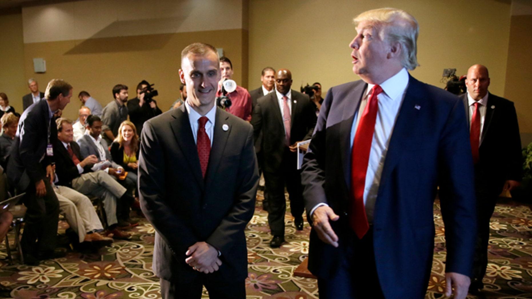 Republican candidate Donald Trump and campaign manager Corey Lewandowski in a 2015 file photo.