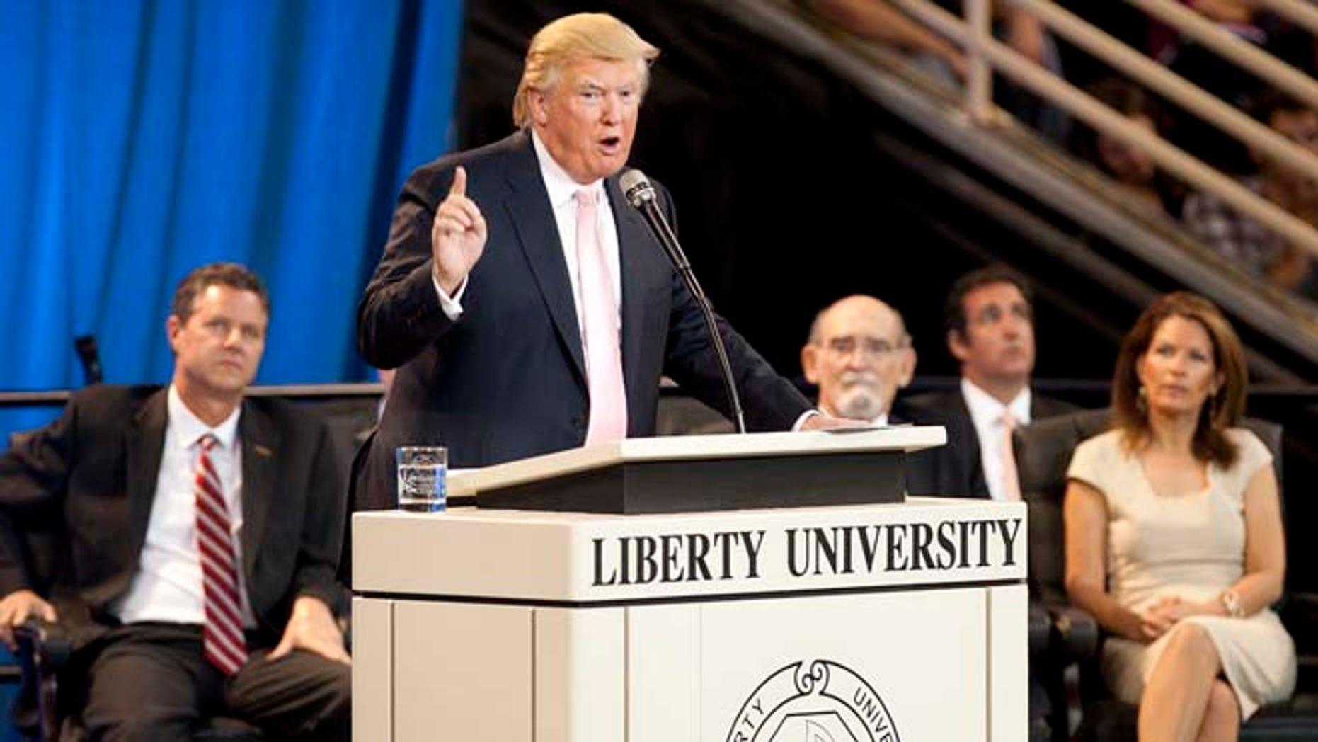 Sept. 24, 2012: Donald Trump speaks at Convocation at Liberty University in Lynchburg, Va.