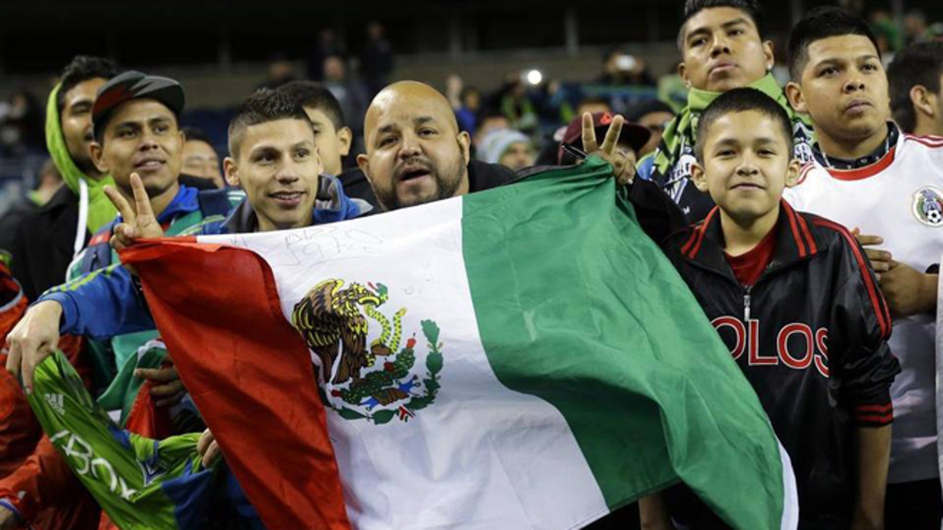 Mexican fans at a friendly between the Seattle Sounders F.C. and Club Tijuana of the Liga MX. (Photo: Ted S. Warren/Associated Press)