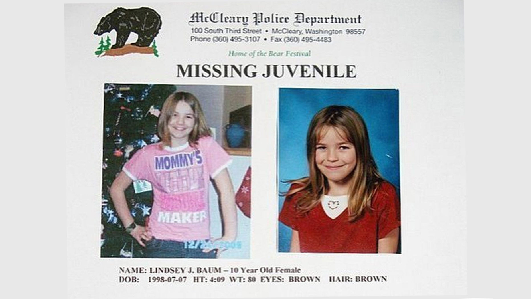 Human remains discovered last fall in eastern Washington have been identified as those of Lindsey Baum, a 10-year-old girl who went missing in 2009, The Grays Harbor County Sheriff's Office announced Thursday.