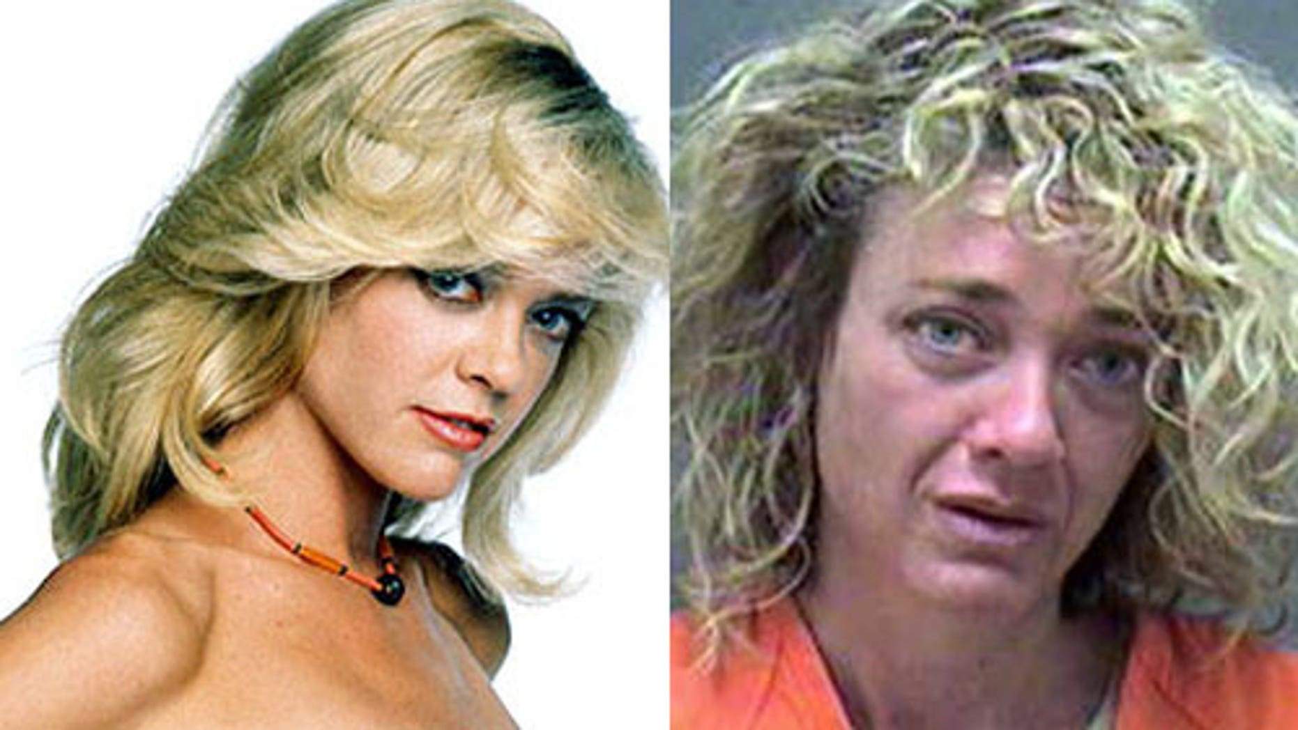 """Lisa Robin Kelly in her """"That 70's Show"""" days and in her mugshot, right."""