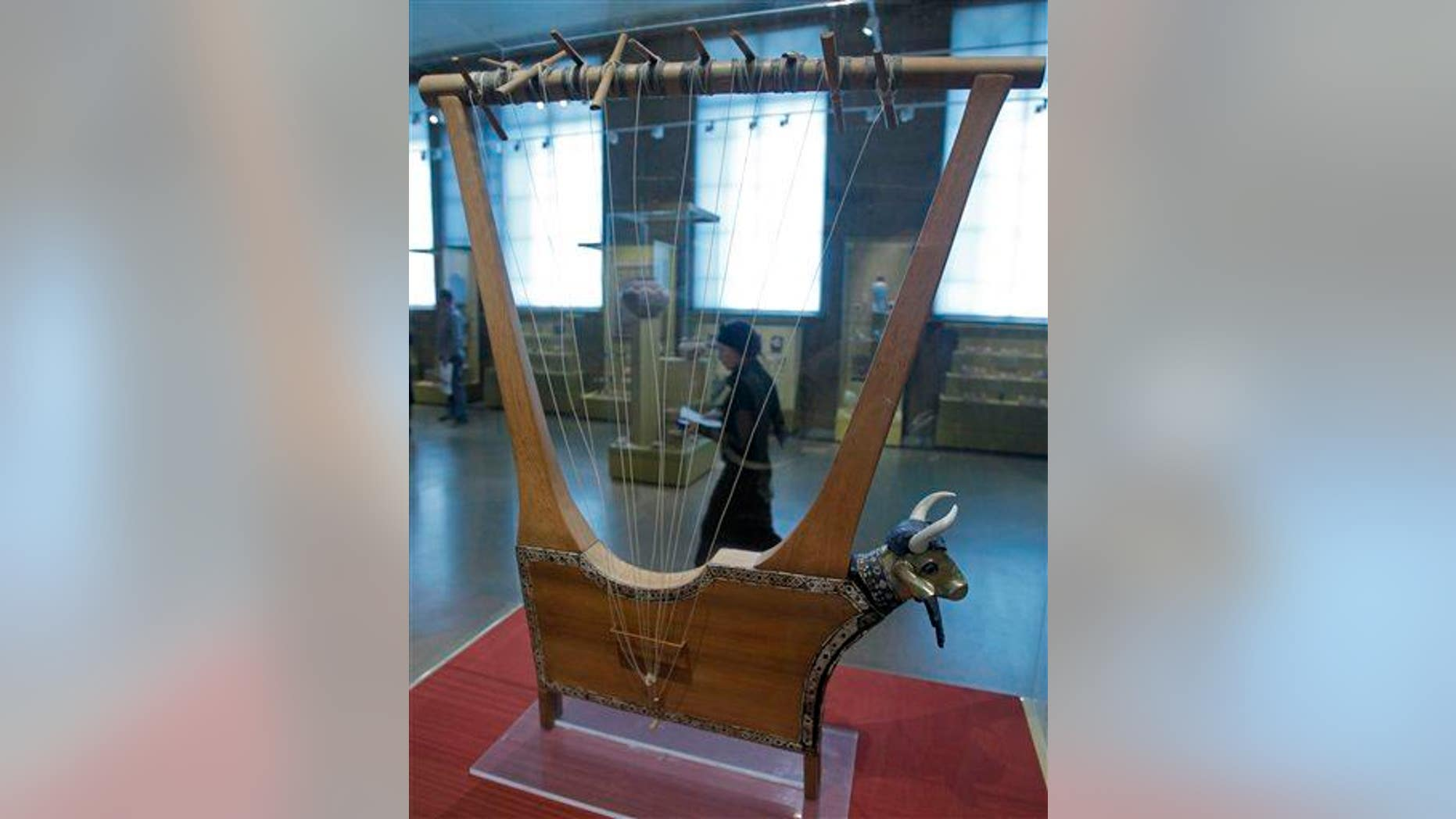 File photo of a lyre, this one on exhibition from the British Museum.