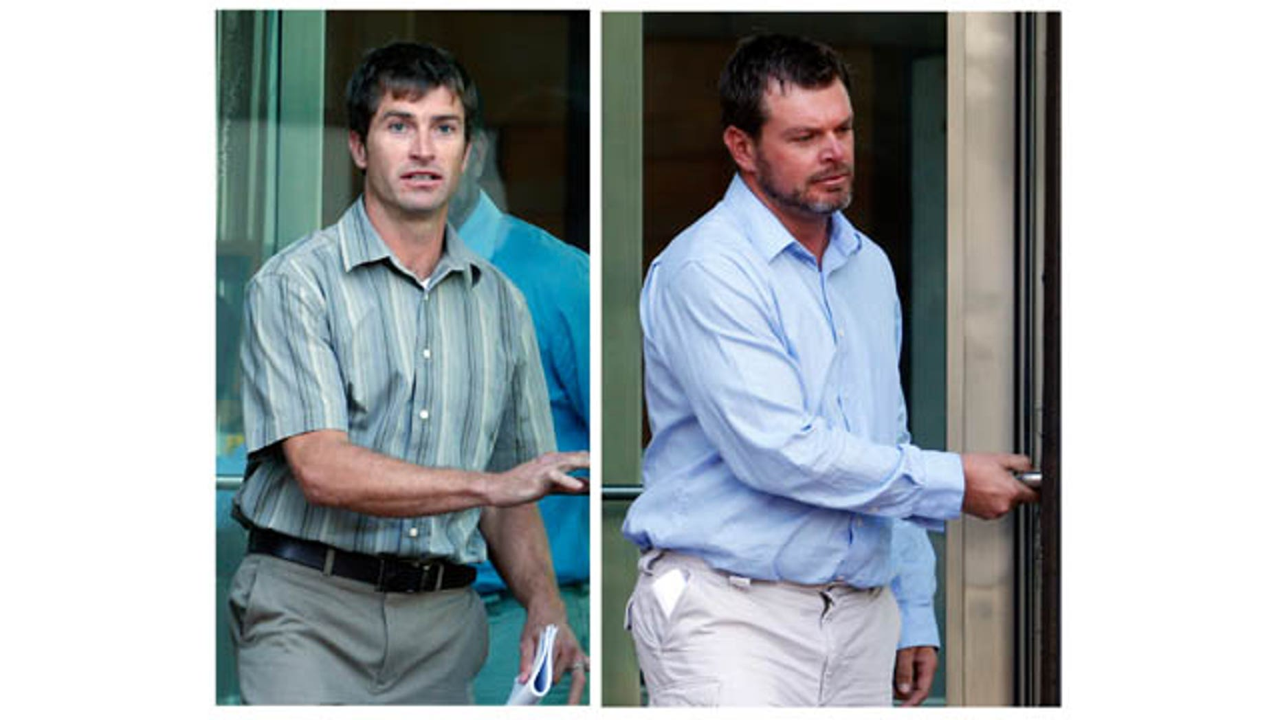 FILE - These combination Sept. 26, 2013 file photos, show Ryan Jensen, left and Eric Jensen leaving federal court in Denver, Colo., after a hearing on federal charges of introducing adulterated food into interstate commerce. (AP Photo)