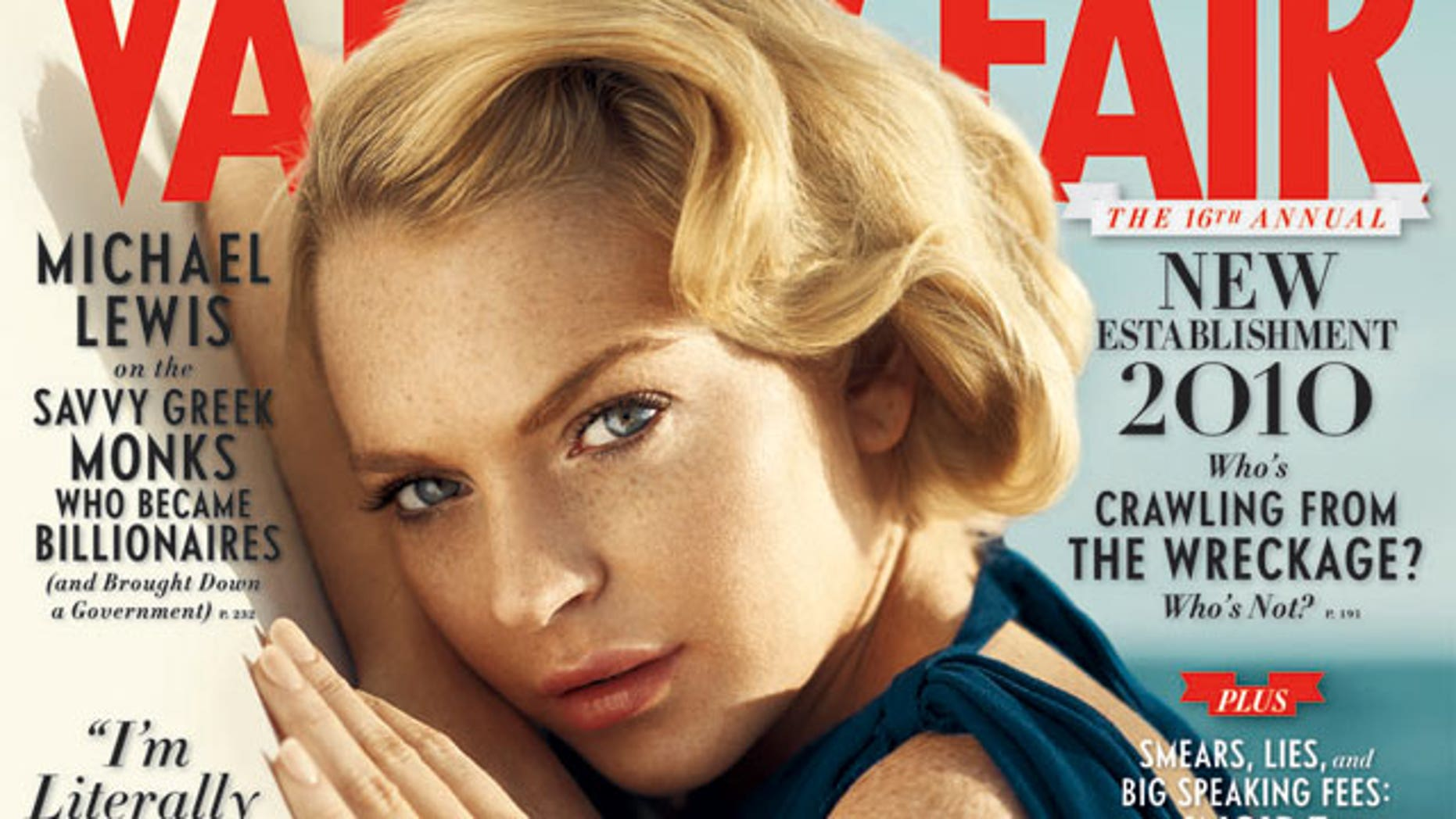 Lindsay Lohan is on the cover of the October issue of Vanity Fair.