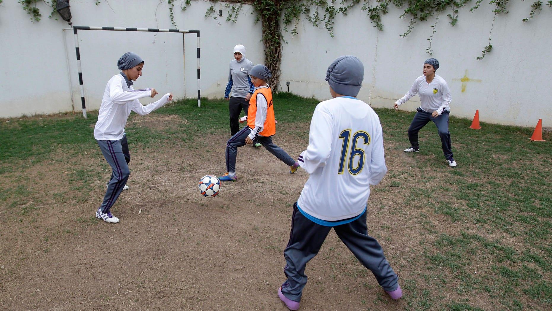 May 21, 2012: In this photo, members of a Saudi female soccer team practice at a secret location in Riyadh, Saudi Arabia.