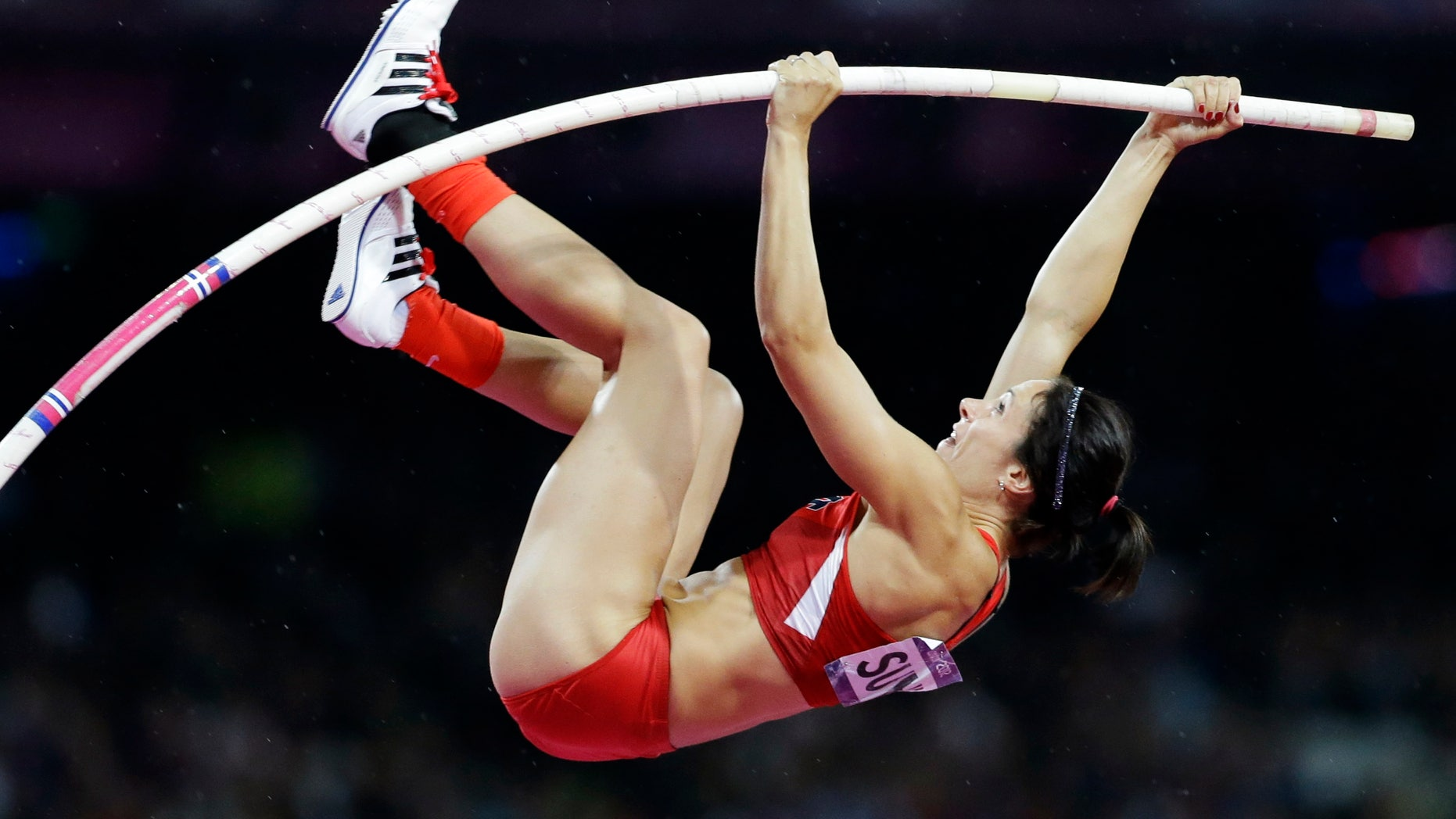 Aug. 6, 2012: United States' Jennifer Suhr competes to win gold in the women's pole vault final at the 2012 Summer Olympics in London.