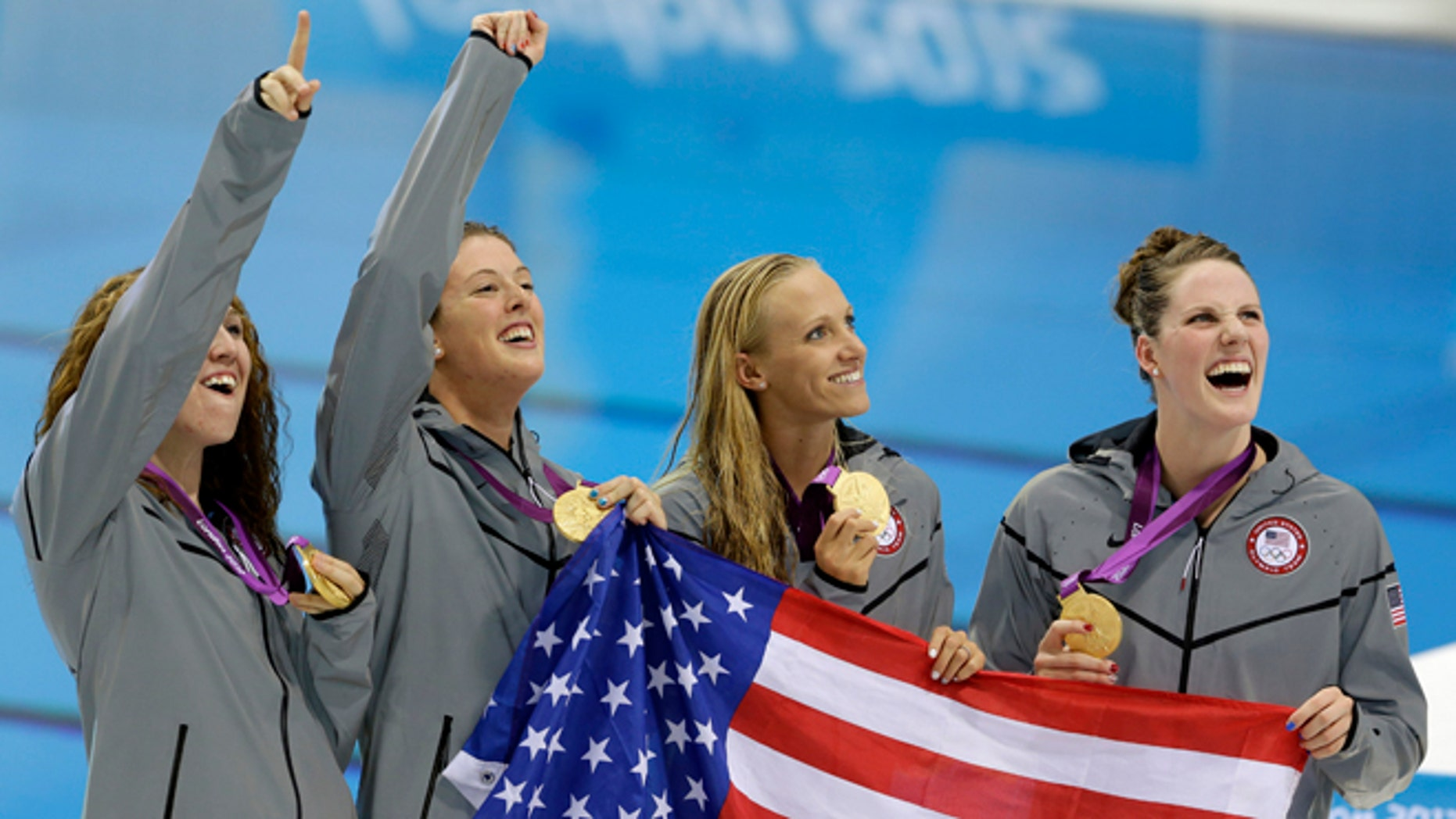Aug. 1, 2012: From right, United States' Missy Franklin, United States' Dana Vollmer, United States' Allison Schmitt and United States' Shannon Vreeland pose with their gold medals for the women's 4x200-meter freestyle relay swimming final at the Aquatics Centre in the Olympic Park during the 2012 Summer Olympics in London.
