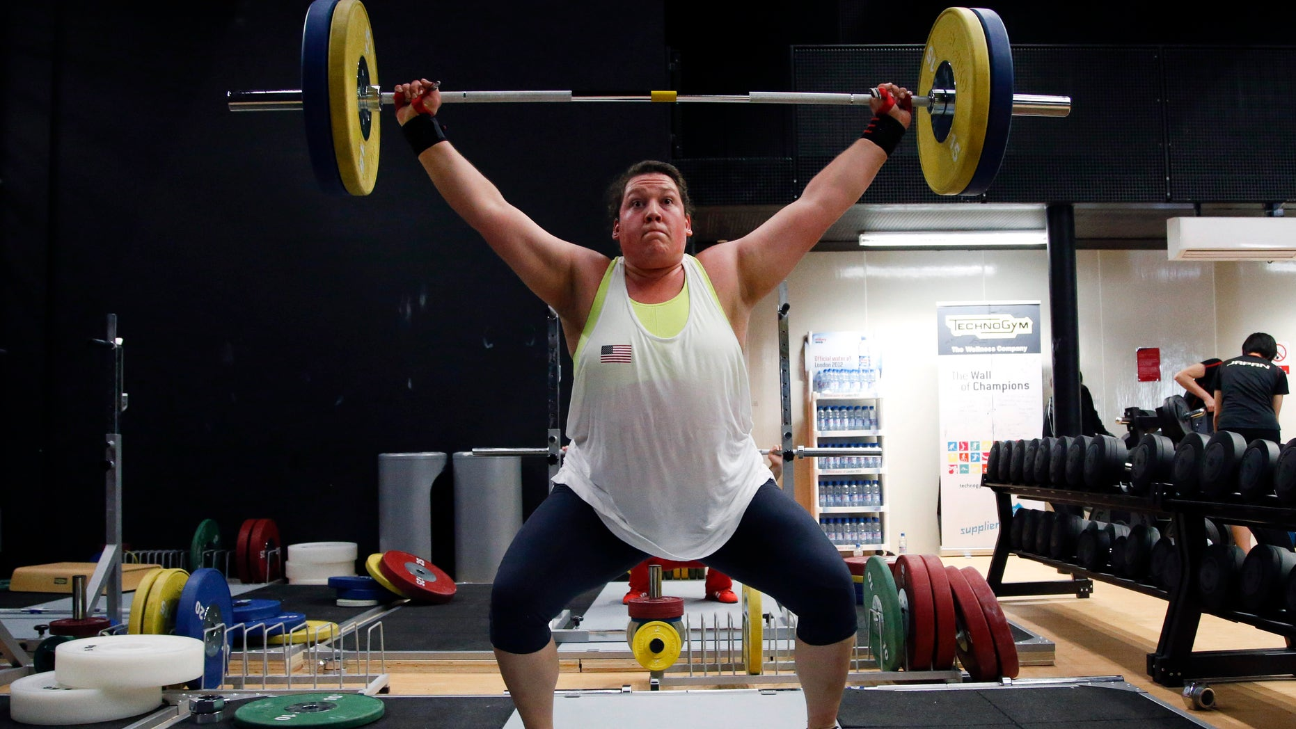 United States weightlifter Sarah Robles trains at the Athletes' Village in the Olympic Park during the 2012 Summer Olympics, London, Friday, Aug. 3, 2012. (AP Photo/Jae C. Hong)