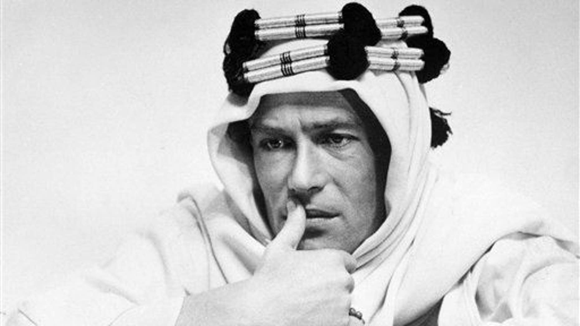 """In this 1961 file photo, actor Peter O'Toole is shown in the title role in the film """"Lawrence of Arabia.���"""