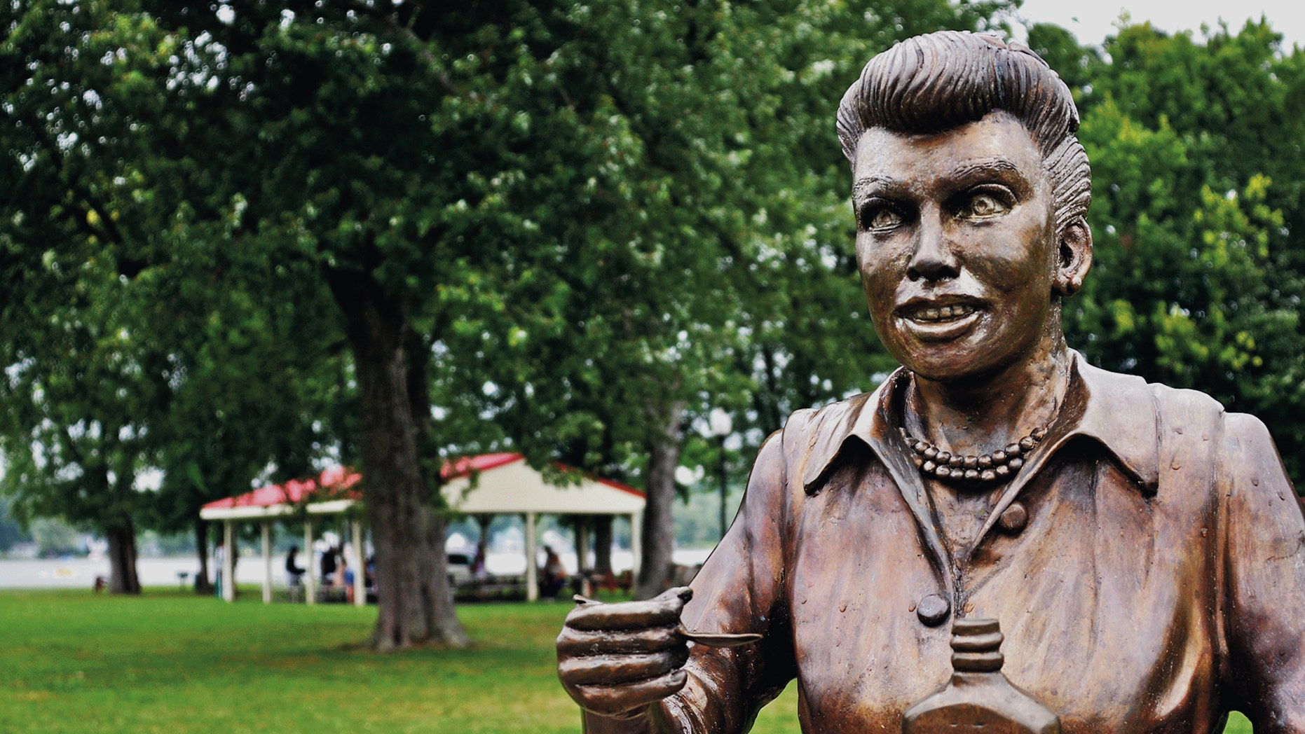 In an Aug. 2012 photo, a bronze sculpture of Lucille Ball is displayed in in Lucille Ball Memorial Park in the village of Celoron, NY., Lucy's home town.