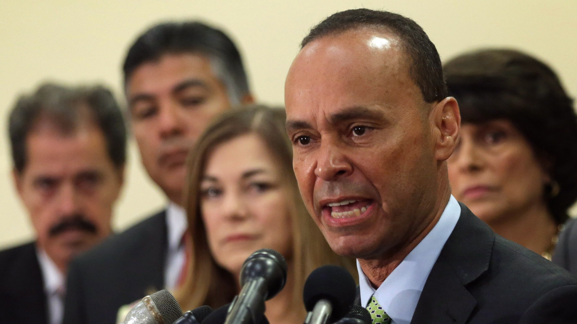 Rep. Gutierrez during a news conference July 11, 2014 on Capitol Hill in Washington, DC.