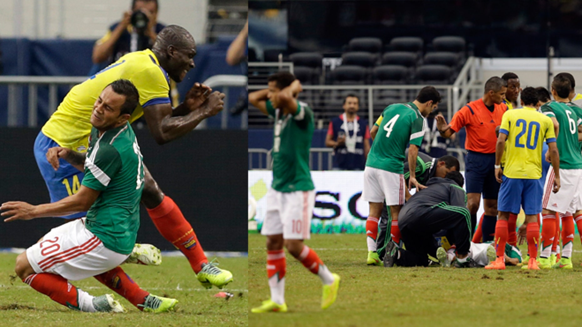 Mexico's Luis Montes collides with Ecuador's Segundo Castillo, rear, as the two were competing for the ball during the first half of a friendly soccer match, Saturday, May 31, 2014, in Arlington, Texas.