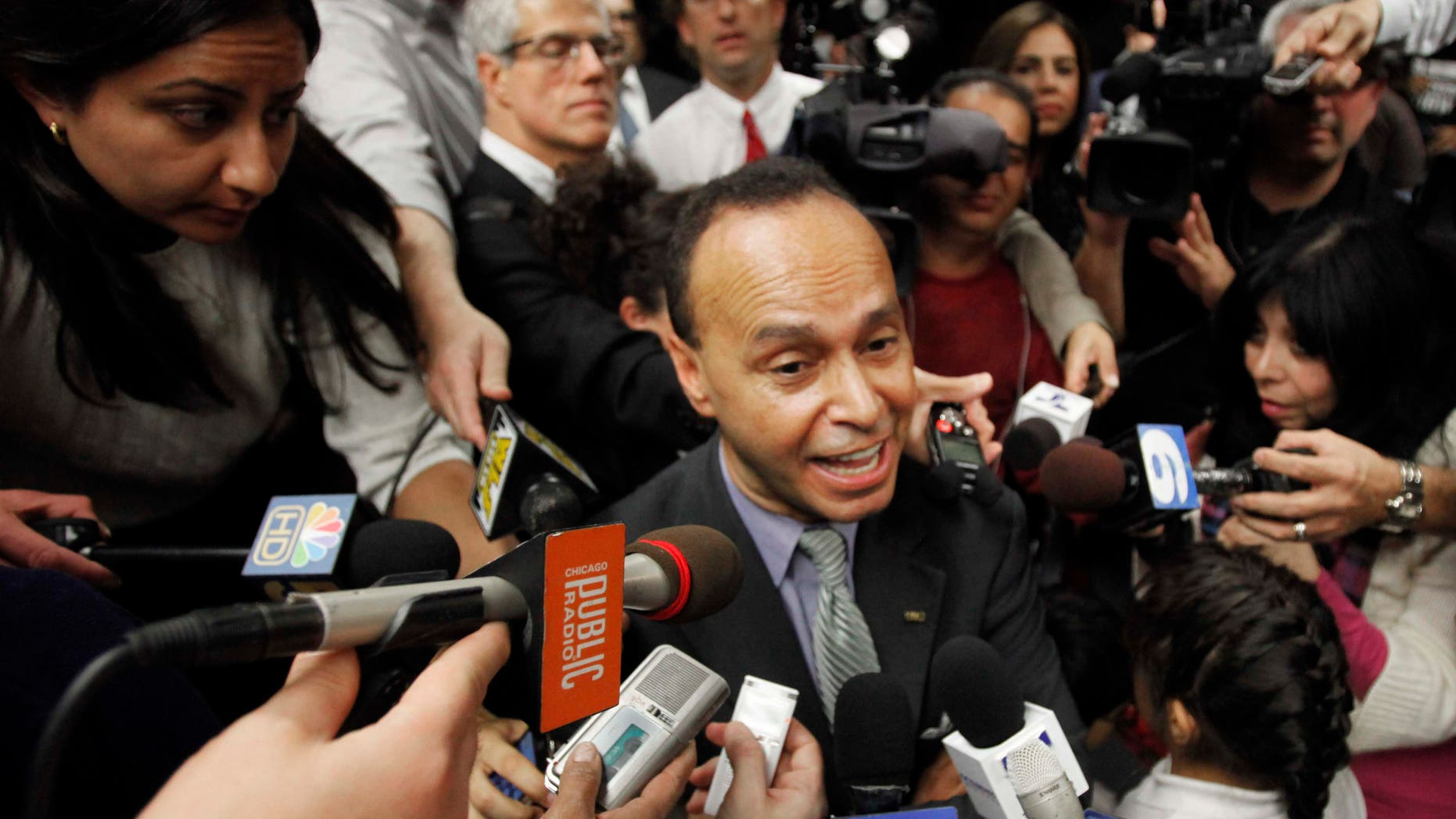 U.S. Rep. Luis Gutierrez, D-Ill., addresses a crowd where he announced he would not run for mayor of Chicago during an event on the University of Illinois-Chicago campus Thursday, Oct. 14, 2010 in Chicago. (AP Photo/Charles Rex Arbogast)