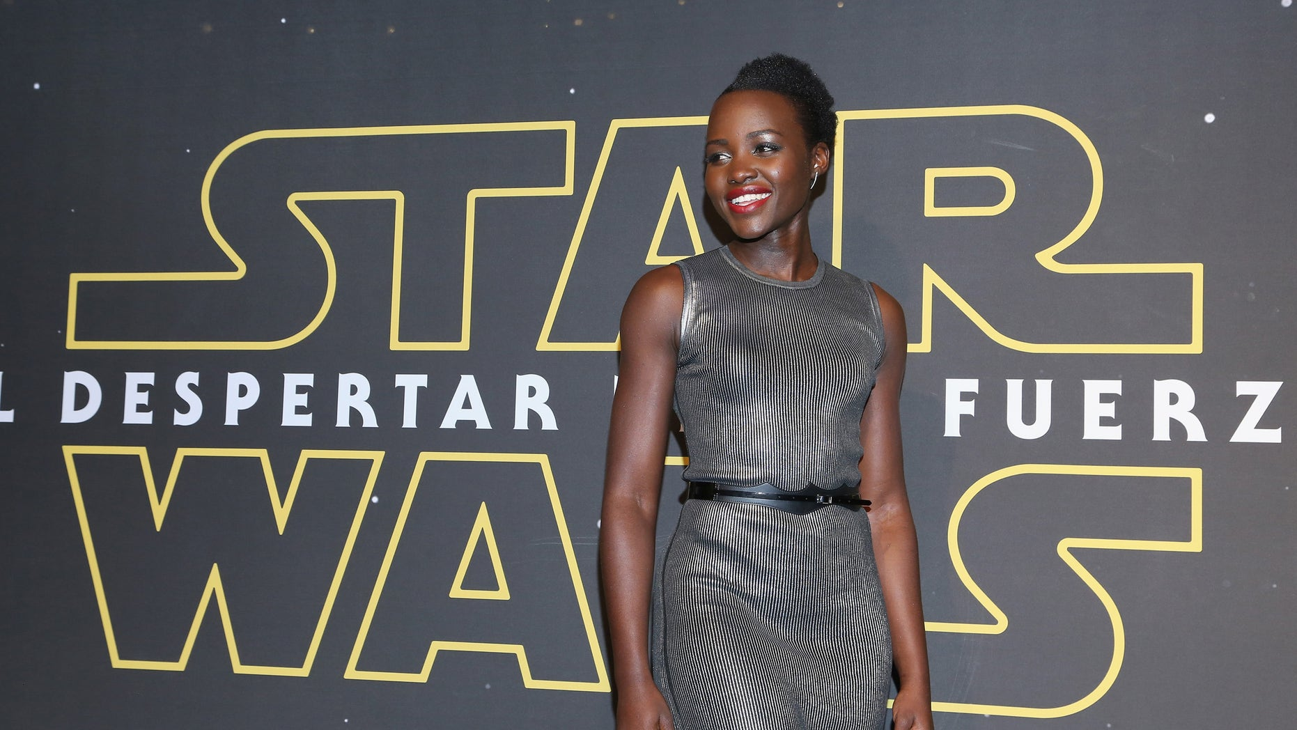 """MEXICO CITY, MEXICO - DECEMBER 08:  Actress Lupita Nyong'o attends the """"Star Wars: The Force Awakens"""" Mexico City premiere fan event at Cinemex Antara Polanco on December 8, 2015 in Mexico City, Mexico.  (Photo by Victor Chavez/Getty Images for Walt Disney Studios')"""