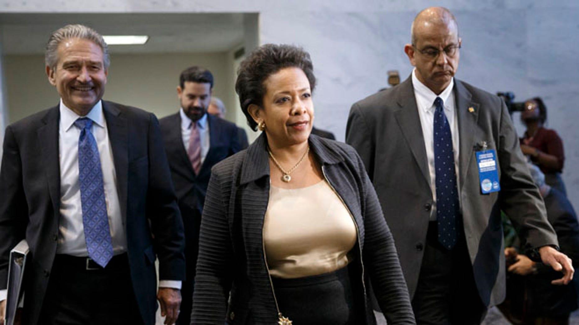 FILE: Dec. 2, 2014: Attorney General nominee Loretta Lynch on Capitol Hill, in Washington, D.C.