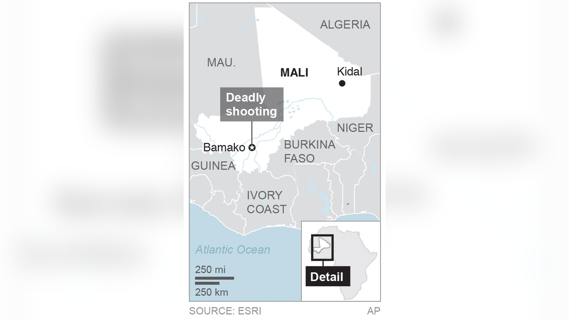 Map locates Bamako, Mali; 1c x 3 inches; 46.5 mm x 76 mm;