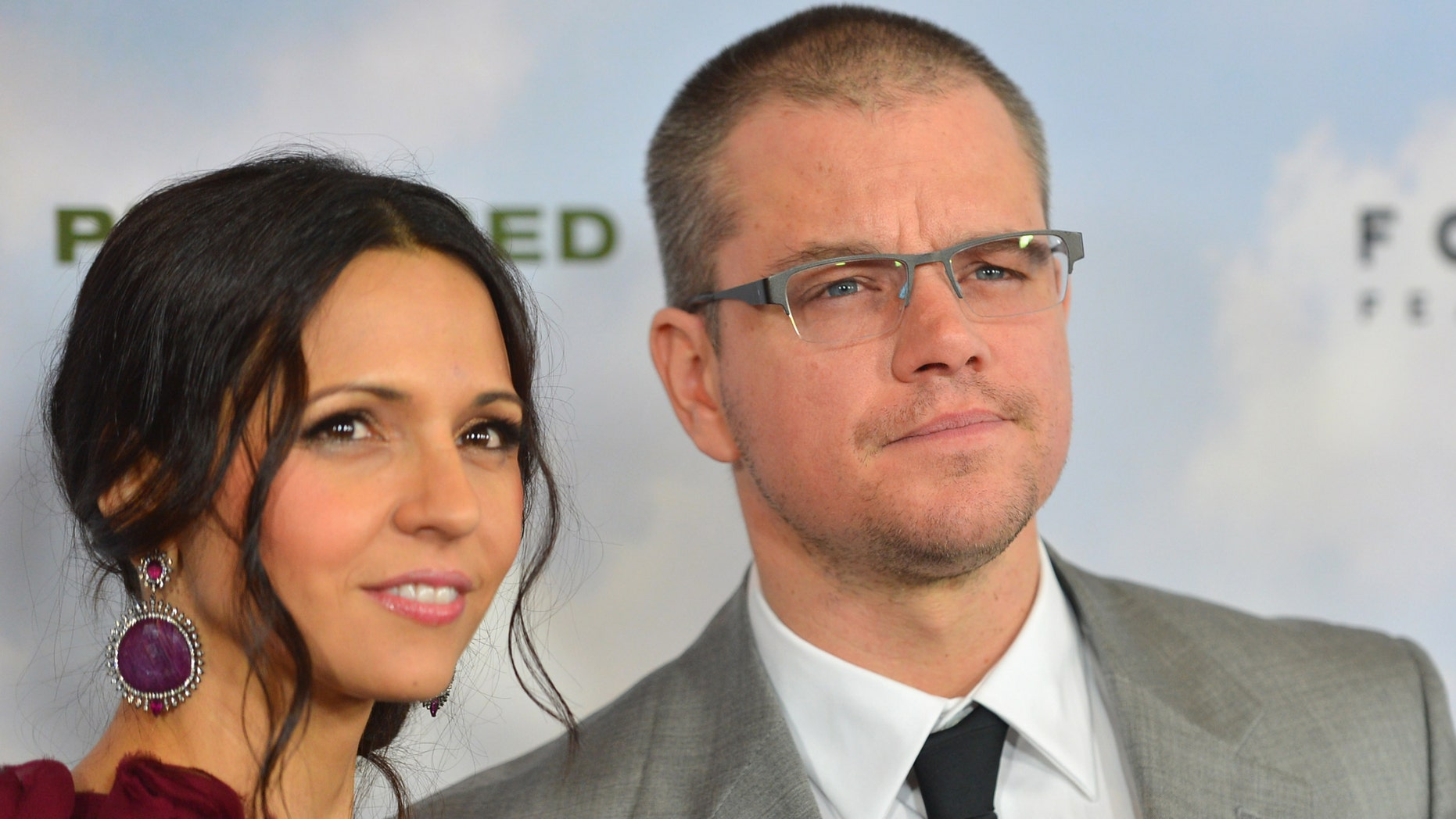 """LOS ANGELES, CA - DECEMBER 06:  Luciana Baroso and actor Matt Damon arrive to the premiere of Focus Features' """"Promised Land"""" at the Directors Guild Of America on December 6, 2012 in Los Angeles, California.  (Photo by Alberto E. Rodriguez/Getty Images)"""